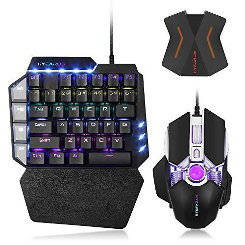 HYCARUS Wired Mechanische Gaming-Tastatur und mechanische Gaming-Maus mit RGB-LED-Hintergrundbeleuchtung. Tastatur- und Maus-Konverter-Adapter für Nintendo Switch / PS4 / Xbox One / PS3 / Xbox 360