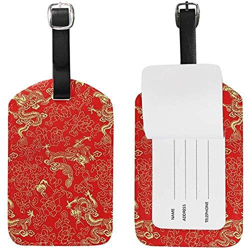 Dragones y Flores Dorados Chinos Rojos Imprimir Etiquetas de Equipaje Etiqueta de Bolsa de identificación de Viaje para Maleta 2 Piezas