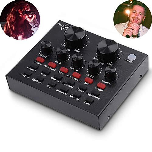 YMJJ Sound Mixer Board Mit Voice Changer Und Soundeffekten, Audio DJ Mixer Für Telefon-Computerspiel-Tablets Mit 3,5-Mm-Audio-Buchse, Live-Soundkarte