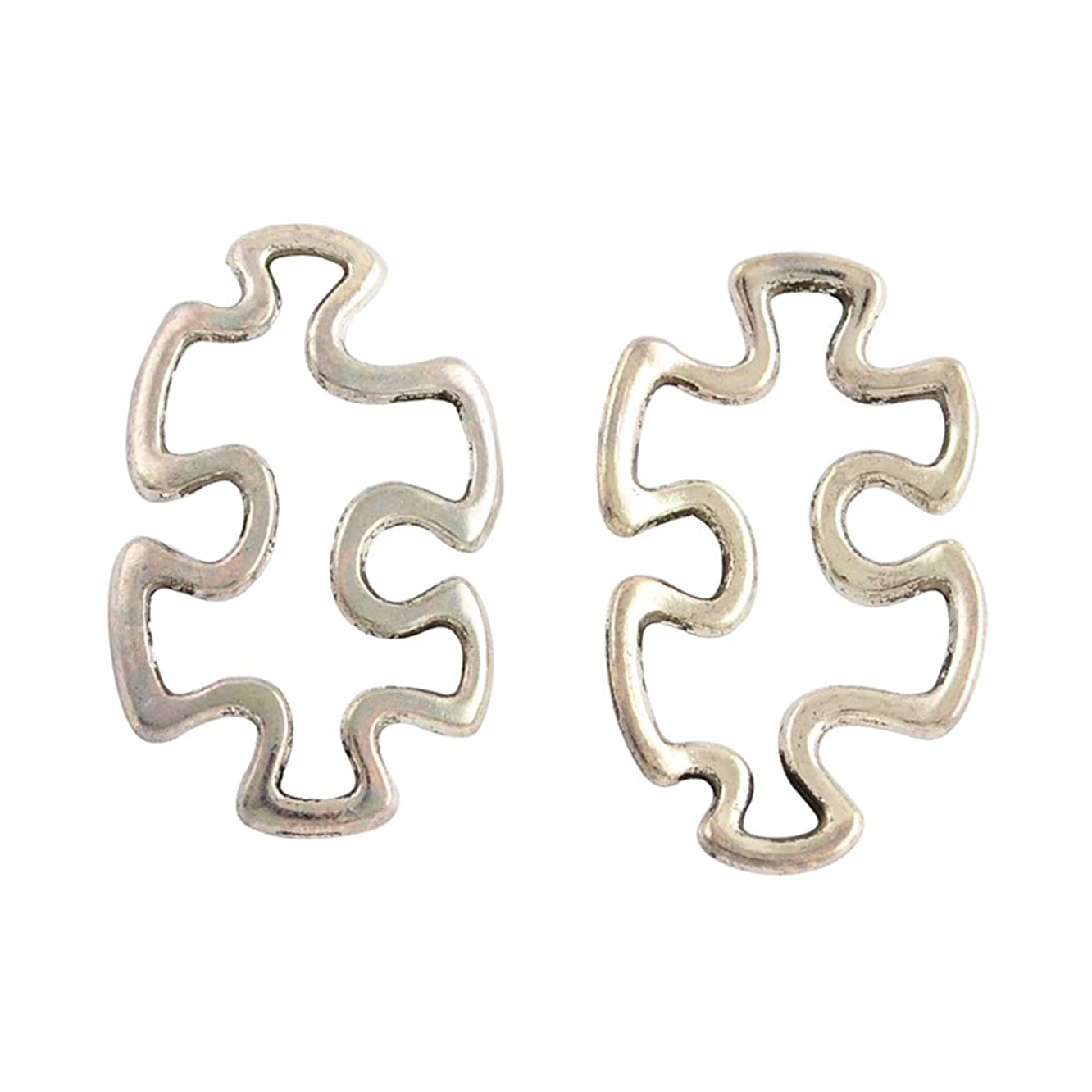 PH PandaHall 200pcs Alloy Autism Puzzle Jigsaw Charm Tibetan Style Linking Rings Antique Silver Charm Links for DIY Crafting Bracelet Necklace Jewelry Making Accessories