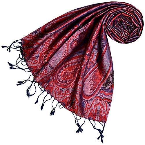 Lorenzo Cana Luxus Pashmina Damen - Schal Schaltuch jacquard gewebt 100% Seide Paisley Muster Seidenschal Seidentuch Blau Rot 78644