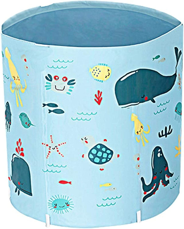 QCQYYC Aufblasbare badewanne wanne Aufblasbare Wanne Erwachsenen Folding Badewanne Dicker Plastikeimer Baby Spa Badewanne Groe Gre badewanne aufblasbar (Farbe   Blau, Größe   70  80cm)