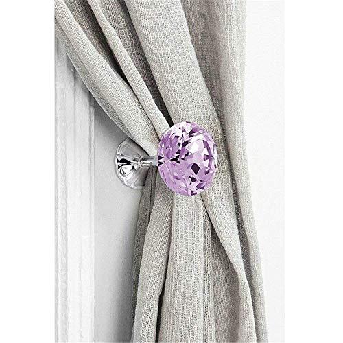 ShiSyan Cortinas Tie Ganchos 2 Cristal Violeta Par cortina Holdback de metal montado en la pared sostenedor del gancho de la cortina de Tieback for la capa Cortinas Paraguas Claves de la pared decorat