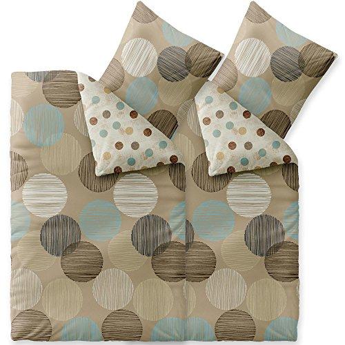CelinaTex Touchme Biber Bettwäsche 155 x 220 cm 4teilig Baumwolle Bettbezug Frauke Punkte beige braun türkis