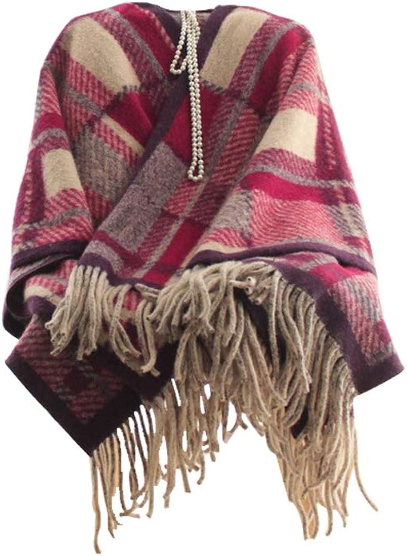 Winter Long Soft Warm Tartan Check Scarves Wraps for Women Wool Spinning Tassel Shawl Long Stole