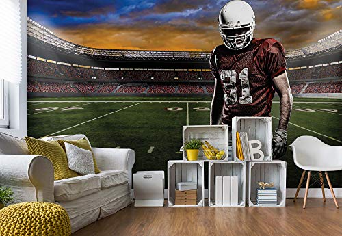 American Football Stadion - Wallsticker Warehouse - Fototapete - Tapete - Fotomural - Mural Wandbild - (1109WM) - XL - 208cm x 146cm - VLIES (EasyInstall) - 2 Pieces