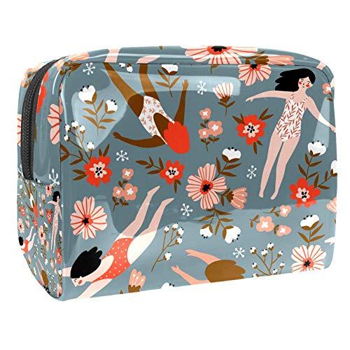 TIZORAX Badpakken Jonge Meisjes In Bloemen Cosmetische Tassen PVC Make-up Tas Reizen Toiletten Handige Pouch Organizer voor Vrouwen