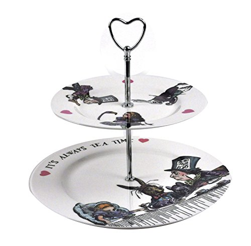 Mrs Moore Alice in Wonderland 'It's Always Tea Time' Fine Porcelain Cake Stand - 2 Tier