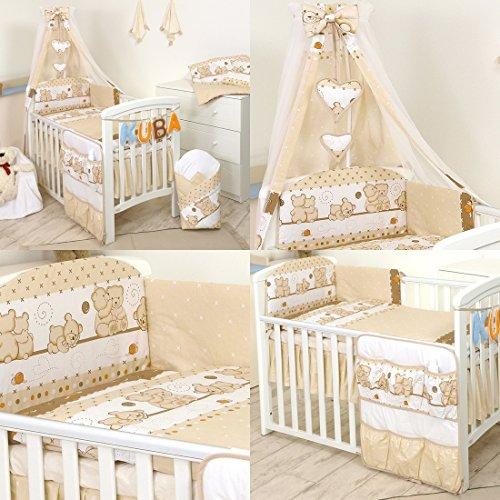 11 Pezzi Set di biancheria per letto culla bambini paracolpi baldacchino (120x60cm, 9)