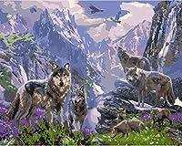 番号によるDiyペイントデジタル油絵オオカミ大人の子供番号による絵画家の装飾