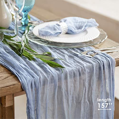 Camino de mesa de gasa para queso rústico o boho, decoración de mesa de boda, tela de queso, mantel azul empolvado para decoración...