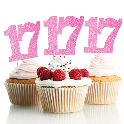 LINGPAR 17 Years Old Pink Cake Toppers Happy 17th Birthday Cupcake Toppers Seventeen Birthday Party Decoration Supplies 24PCS