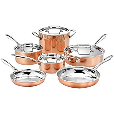 Cuisinart 10pc Tri-Ply Cooper Cookware Set: 1qt with Cover,2.5qt with Cover,4qr Saute with Cover and Helper Hander, 8  and 10  Skillets, 8 Quart Stock Pot, 20 Piece Set, Copper