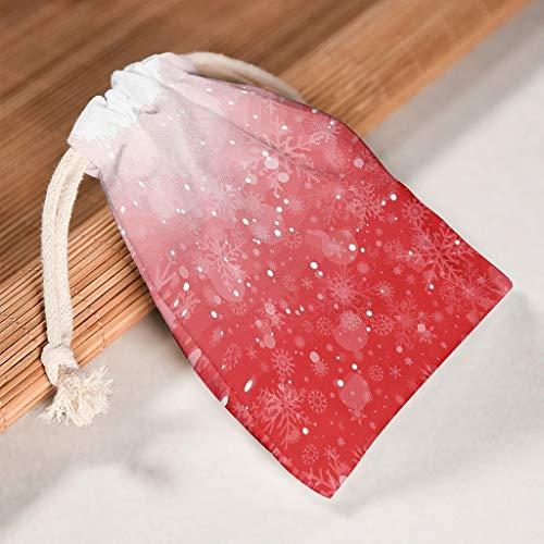 Lind88 1 voor 6 Kerstmis Rood Canvas Trekkoord Tas Duurzame Sachet Pouch Pak voor Thanksgiving verjaardag Present Wrap Bag - Shining Patroon Prints