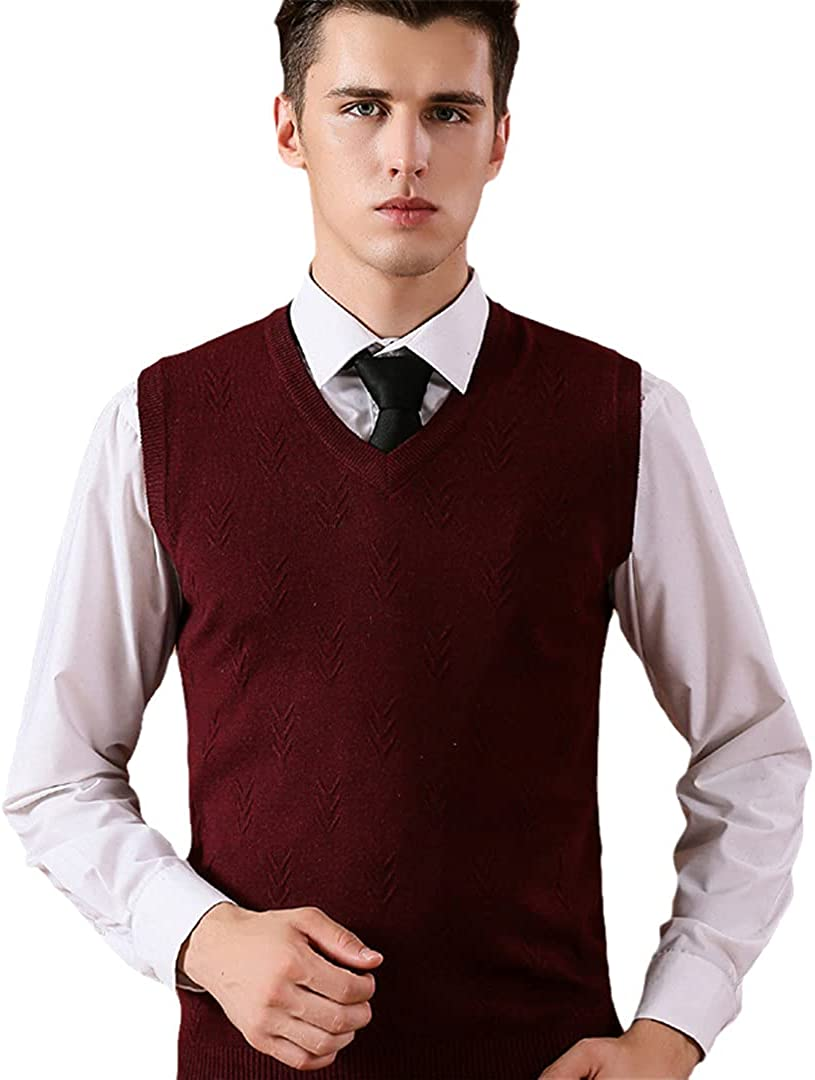 GYSAFJ Mens Solid Color Vest Men Cashmere Sweaters Wool Pullover Mens Knitted Sweater