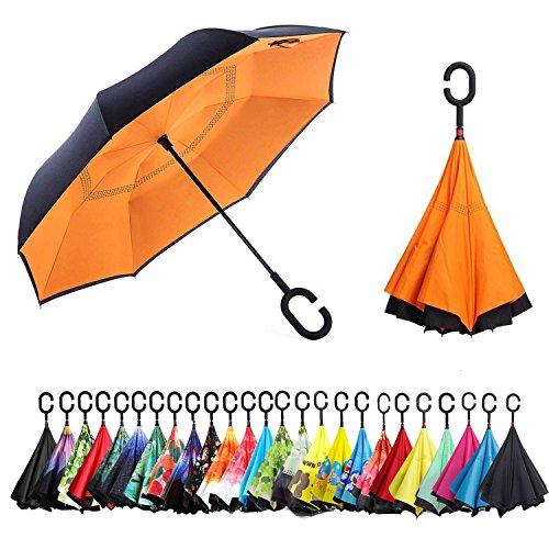 Sumeber Ombrello Inverso con Striscia di Riflessione Leggera, Ombrello Invertito a Doppio Strato, L'ombrello con Manico a Forma di C Ombrello