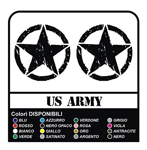 GRAFIC 3 Autocollants ÉTOILE Militaire US Army pour Moto Custom (Noir)