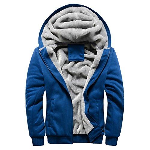 フード付き パーカー メンズ スウェット裏ボア ジップアップ 冬 秋 春 暖かい 裏起毛 長袖 アウター (NAIL39) (ブルー 青、XL)