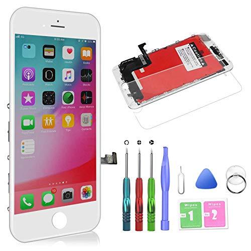 Preisvergleich Produktbild HTECHY Kompatibel mit iPhone 8 Display Weiß,  LCD Touchscreen Digitizer Display,  Ersatz Bildschirm Eine illustrierten Reparaturanleitung & Ersatzbildschirm Komplettes Werkzeug