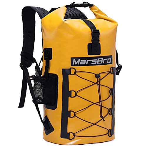 MarsBro Waterproof Backpack Dry Bag 1000D PVC 35L / 50L HF Welded Seams Roll-Top Closure for Kayaking, Canoeing, Floating, River Tracing, Sailing with Waterproof Phone Pouch Yellow 35L
