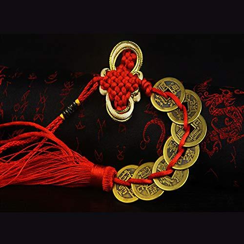 Colgaduras Rojas Chinas De Cobre Cuerda De Monedas, Feng Shu
