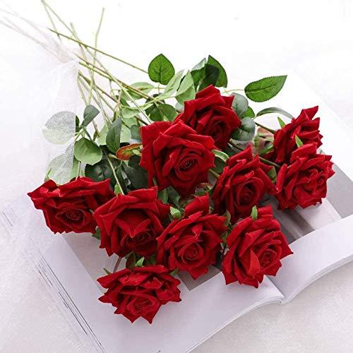 YYHMKB Rosa Ramo de Flores de Seda Artificial Oficina en casa arreglos de Boda Terciopelo Rosa rojo-12 Piezas