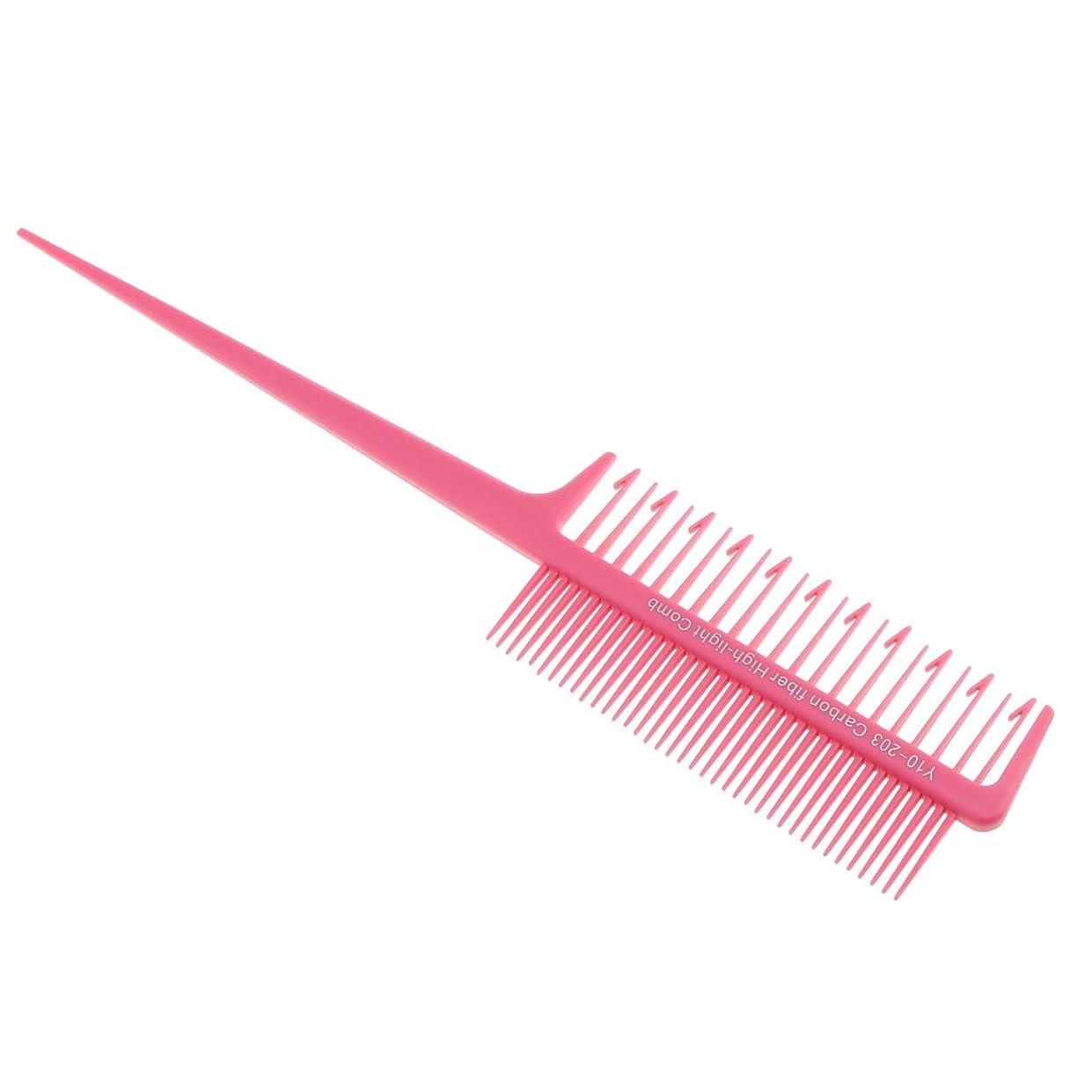 狭いカレッジ合図Blesiya 櫛 織り 染色櫛 ヘアカラー ハイライト 交換 持ち上げ 全4色選べる - ピンク