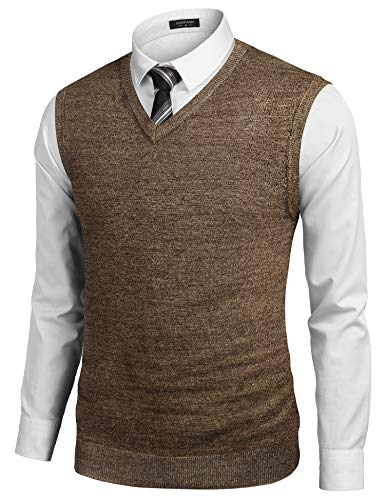 COOFANDY Mens Casual Sweater Vest Lightweight V-Neck Solid Knit Vest Brown