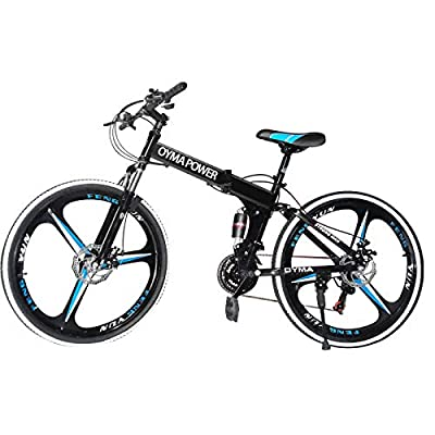 Folding Mountain Bike,26 inch 21 Speed Carbon Steel Mountain Bicycle for Adults,Full Suspension Disc Brake Outdoor Bikes for Men Women
