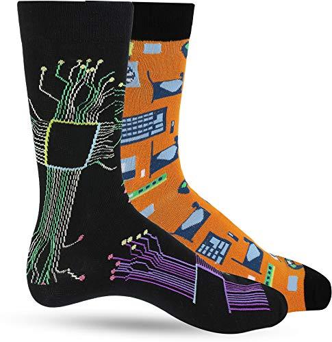 LUTHER PIKE SEATTLE Lustige Socken für Männer: Lustige Herren-Socken: Crazy & Funky bunte Socke: Nerd Geek & Science - Schwarz - Einheitsgröße