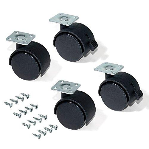 Emuca 2036617 Set di 4 Rotelle Pivotanti Nere per Mobile con Piastra di Assemblaggio e Cuscinetto a Sfere, Diametro 50 mm, Nero, 50mm