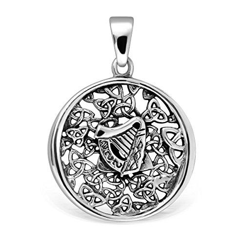 WithLoveSilver Colgante de plata de ley 925 con diseño de arpa celta y nudo tríquetra