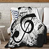 Avalokitesvara Music Note Black and White Flannel Blanket,Throw Soft Warm Fluffy Plush,Lightweight Microfiber for Bed Couch Chair Living Room 50x40 Inch for Kid