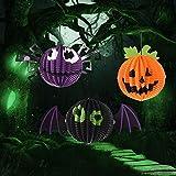 ZTH 3 PCS/Set Creativo Divertido Halloween Calabaza Murciélagos Araña Colgante Papel Decoración y Accesorios Horror
