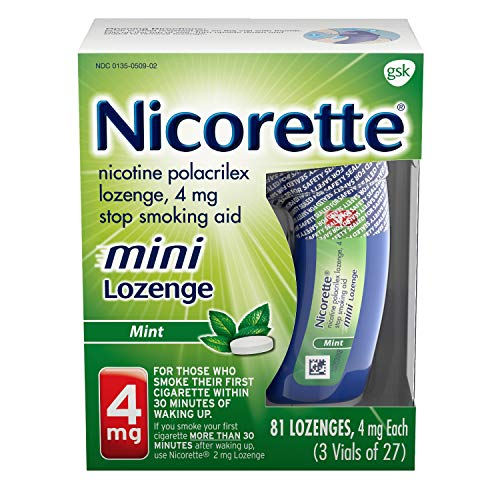 Nicorette Mini Nicotine Lozenges in Mint Flavore to Stop Smoking Aid, fresh mint, 81 Count