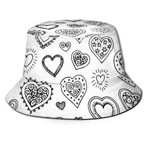 Einzigartiger Eimer Hut für Frauen & Männer Print Cute Doodle Hearts Fisherman...