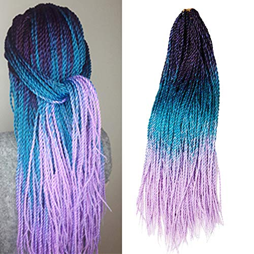 VERVES Ombre Senegalese Twist Hair Crochet braids 6 pack/lot 24 inch 30 Roots/pack Kanekalon Synthetic Braiding Hair for Women (purple ombre Lake blue ombre light purple)