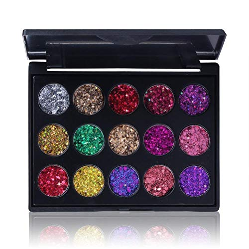Ombretto per Il Trucco, Palette di ombretti Glitter, Palette di ombretti 15 Colori Lucidi e pigmentati, Opaco, Satinato, Metallico, tonalità: neutri Caldi