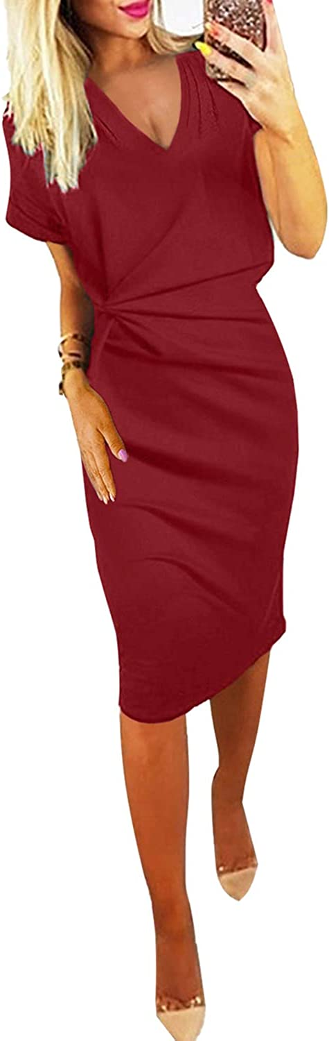 Blibea Womens V Neck Short Sleeve Ruched Waist Wear to Work Bodycon Pencil Dress