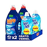 Wipp Express Detergente Líquido Azul para lavadora 40 + 40 (80) Lavados + 2 Vernel Suavizante Azul 57 Lavados GRATIS