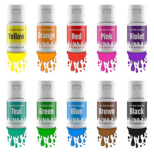 Jelife Colorante Alimentario Gel Set 10 Colores Alta Concentrado Colorantes Alimenticios Reposteria Food Colouring para Colorear Bebidas Helados Pasteles Rosquillas (12.5g)