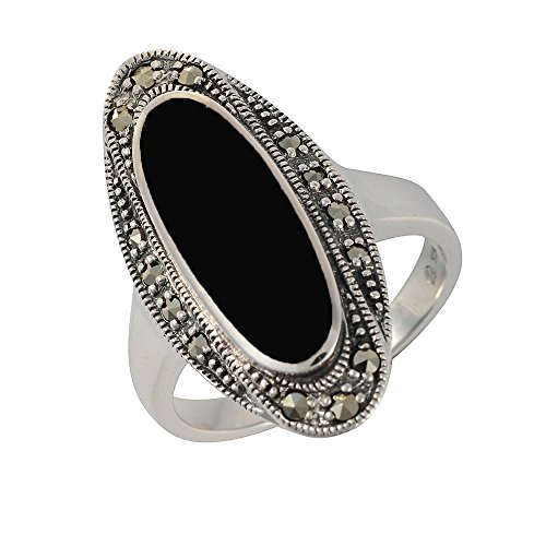 Esse Marcasite Sterling Silver Oval Black Onyx and Marcasite Art Deco Dress Ring - Size O
