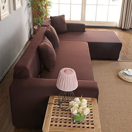 Funda para sofá de 3 + 2 plazas con forma de L, de poliéster, funda de sofá esquinero All Inclusive (marrón)
