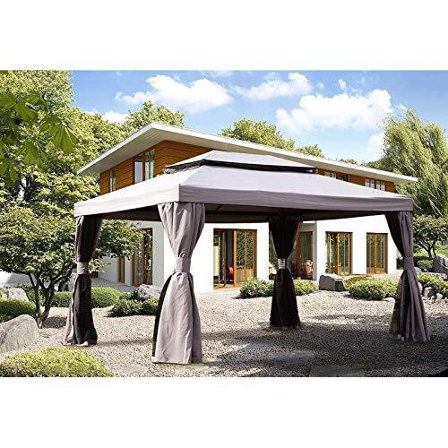 UKN 10x13ft Square Pop-up Patio Gazebo Canopy Shelter Grey Rectangular Polyester Uv Protected