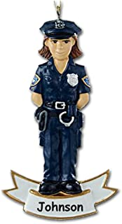 Kurt Adler Personalized Female Law Enforcement Officer Christmas Ornament Gift for Police Sheriff Deputy Officer Blue Uniform with Hat and Badge - Custom Name