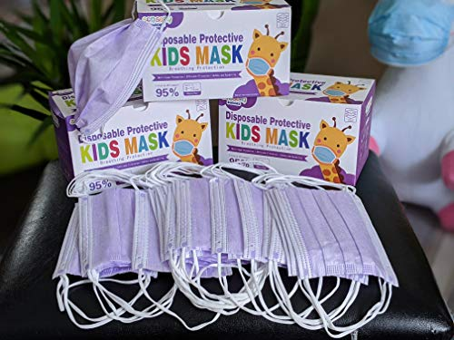 SENSORY BUDDIES Kids Face Mask Disposable | Pack of 50 | Single Use 3 PLY Mask for Germ Protection | Comfortable and Breathable Pink, Purple, Blue Face Mask | Non Woven Material Face Covering (Purple)
