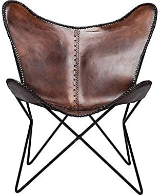 Tuzech Vintage Brown Leather & Arm Butterfly Chair Genuine Tan Leather Butterful Chair Home Decor Handmade Chair (Brown)