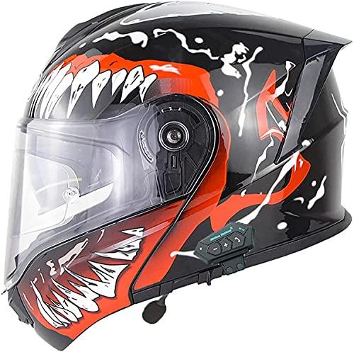 Casco de motocicleta con Bluetooth integrado, Casco de motocicleta integral con tapa modular, Casco de motocicleta modular con Bluetooth integrado Certificación ECE D,XL