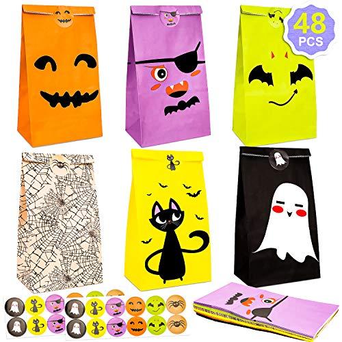 BINGFONE 48 Pack Halloween Süßigkeiten Tasche Partytüten Papiertüten Candy Tüten Partytüten Set mit Stickern Party Geschenk Taschen Dekorationen Deko Taschen