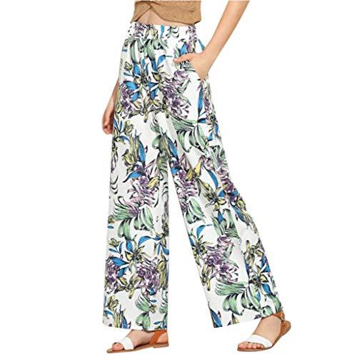 OYSOHE Plus Size Hosen Damen Vintage Blumen Print Weite Beinhosen Baumwolle Leinen Hohe Taille Baggy Lange Hose Schlaghose(Gelb,Large)